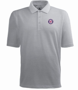 Washington Nationals Mens Pique Xtra Lite Polo Shirt (Color: Gray)