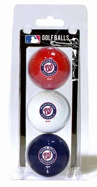 Washington Nationals Set of 3 Multicolor Golf Balls
