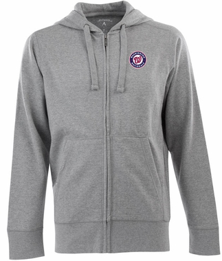 Washington Nationals Mens Signature Full Zip Hooded Sweatshirt (Color: Gray)