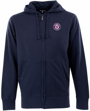 Washington Nationals Mens Signature Full Zip Hooded Sweatshirt (Team Color: Black)
