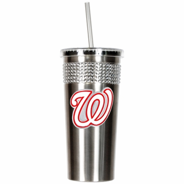 Washington Nationals Stainless Steel Bling Tumbler with Straw
