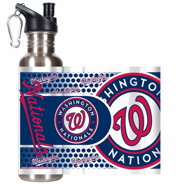 Washington Nationals Stainless Steel Water Bottle with Hi-Def Graphics