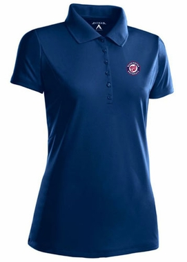 Washington Nationals Womens Pique Xtra Lite Polo Shirt (Color: Navy)