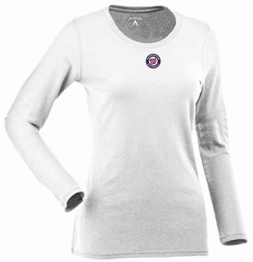 Washington Nationals Womens Relax Long Sleeve Tee (Color: White)