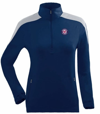 Washington Nationals Womens Succeed 1/4 Zip Performance Pullover (Team Color: Navy)