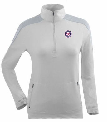 Washington Nationals Womens Succeed 1/4 Zip Performance Pullover (Color: White)