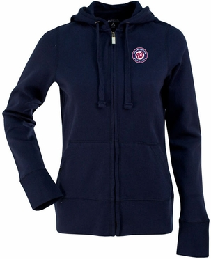 Washington Nationals Womens Zip Front Hoody Sweatshirt (Team Color: Navy)