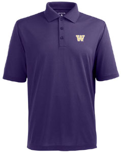Washington Mens Pique Xtra Lite Polo Shirt (Color: Purple) - Medium