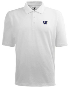 Washington Mens Pique Xtra Lite Polo Shirt (Color: White) - Large