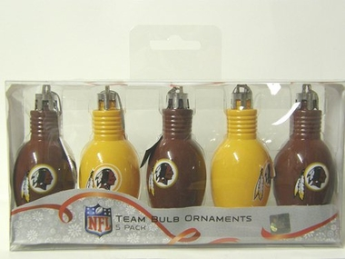 Washington Redskins 5 Pack Bulb Ornaments