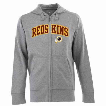 Washington Redskins Mens Applique Full Zip Hooded Sweatshirt (Color: Gray)