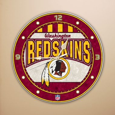 Washington Redskins Art Glass Clock