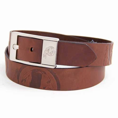 Washington Redskins Brown Leather Brandished Belt