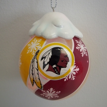 Washington Redskins Light Up Glass Ball Ornament