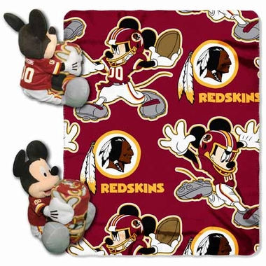 Washington Redskins Mickey Mouse Pillow / Throw Combo