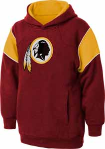 Washington Redskins NFL YOUTH Color Block Pullover Hooded Sweatshirt - Large
