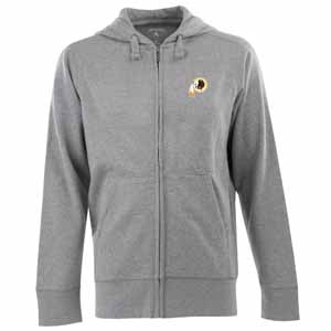 Washington Redskins Mens Signature Full Zip Hooded Sweatshirt (Color: Gray) - Large
