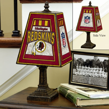 Washington Redskins Small Art Glass Lamp