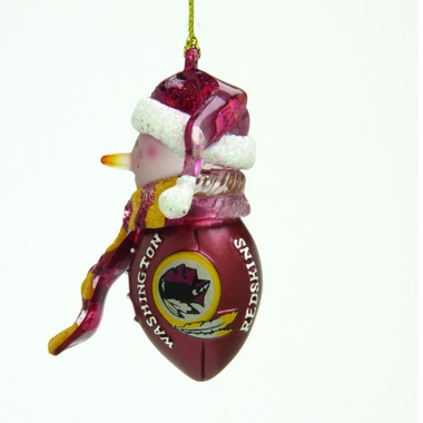 Washington Redskins Striped Acrylic Touchdown Snowman Ornament (Set of 4)