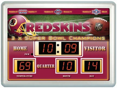Washington Redskins Time / Date / Temp. Scoreboard