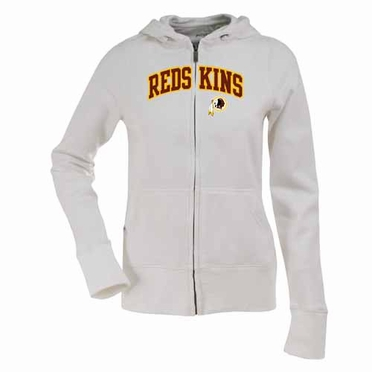 Washington Redskins Applique Womens Zip Front Hoody Sweatshirt (Color: White)