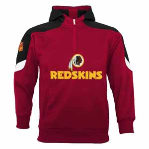 Washington Redskins YOUTH Kick Off 1/4 Zip Performance Hoody - Medium