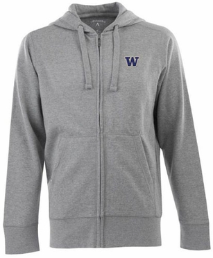 Washington Mens Signature Full Zip Hooded Sweatshirt (Color: Gray)