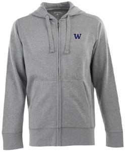 Washington Mens Signature Full Zip Hooded Sweatshirt (Color: Gray) - Medium