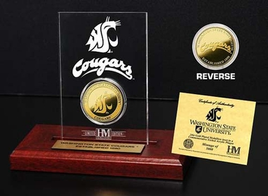 Washington State Cougars Washington State University 24KT Gold Coin Etched Acrylic