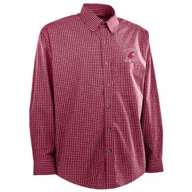Washington State Mens Esteem Check Pattern Button Down Dress Shirt (Team Color: Maroon)