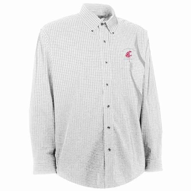 Washington State Mens Esteem Check Pattern Button Down Dress Shirt (Color: White)