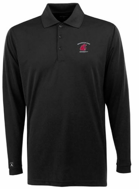 Washington State Mens Long Sleeve Polo Shirt (Color: Black)