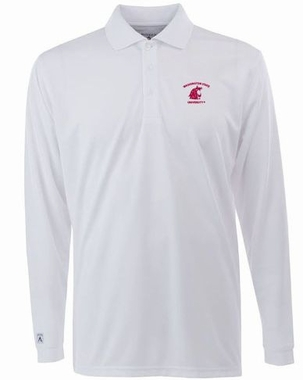 Washington State Mens Long Sleeve Polo Shirt (Color: White)