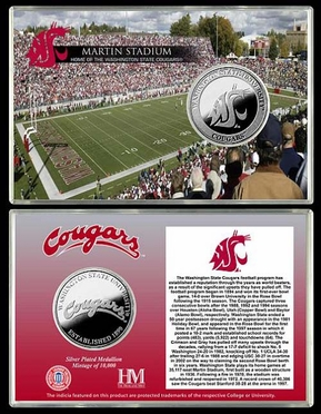 Washington State Cougars Washington State University Martin Stadium Silver Coin Card
