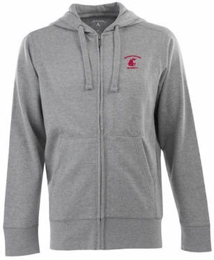 Washington State Mens Signature Full Zip Hooded Sweatshirt (Color: Gray)