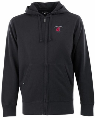 Washington State Mens Signature Full Zip Hooded Sweatshirt (Team Color: Black)