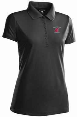Washington State Womens Pique Xtra Lite Polo Shirt (Color: Black)