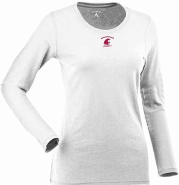 Washington State Womens Relax Long Sleeve Tee (Color: White)