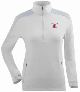 Washington State Womens Succeed 1/4 Zip Performance Pullover (Color: White)