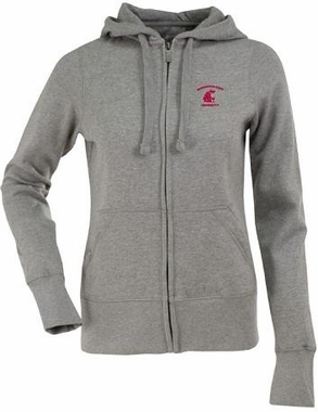 Washington State Womens Zip Front Hoody Sweatshirt (Color: Gray)