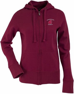 Washington State Womens Zip Front Hoody Sweatshirt (Color: Maroon)