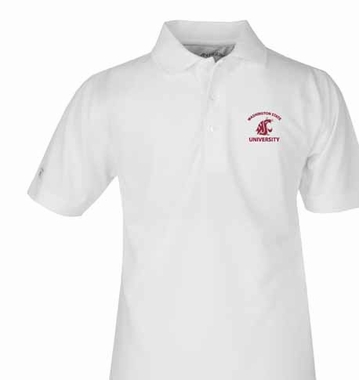 Washington State YOUTH Unisex Pique Polo Shirt (Color: White)