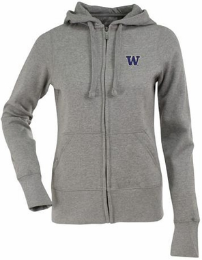 Washington Womens Zip Front Hoody Sweatshirt (Color: Gray)