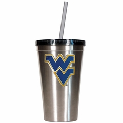 West Virginia 16oz Stainless Steel Insulated Tumbler with Straw