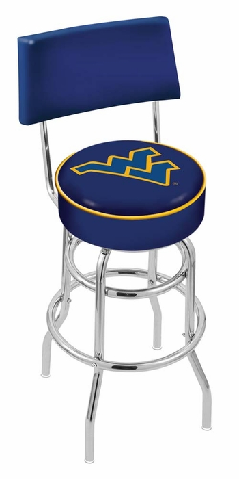 West virginia 25 inch l7c4 chrome bar stool with back