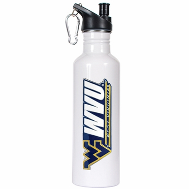 West Virginia 26oz Stainless Steel Water Bottle (White)