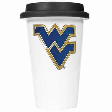 West Virginia Ceramic Travel Cup (Black Lid)
