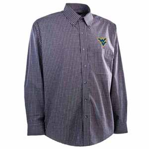 West Virginia Mens Esteem Check Pattern Button Down Dress Shirt (Team Color: Navy) - Medium