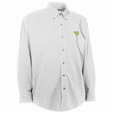 West Virginia Mens Esteem Check Pattern Button Down Dress Shirt (Color: White)