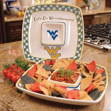West Virginia Gameday Ceramic Chip and Dip Platter